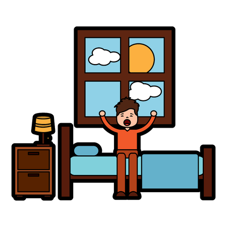 child boy sleeping in their room icon image vector illustration design Stock Vector - 96068826