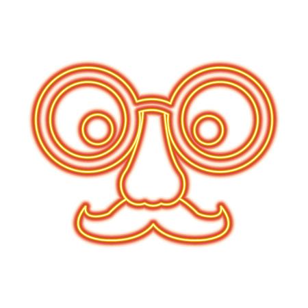 Lustige gefälschte Maske aus Brille Schnurrbart und Nase Vektor-Illustration Standard-Bild - 96069704