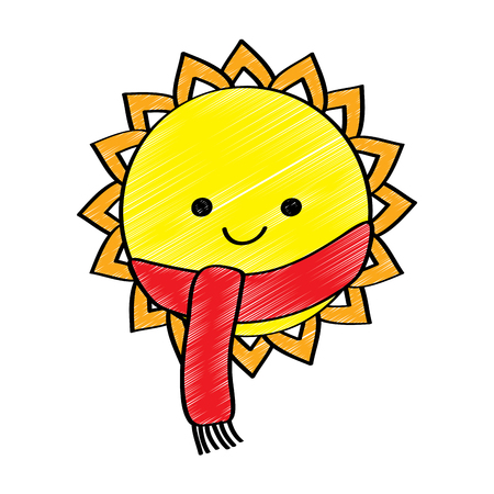 cute smiling sun cartoon character with scarf vector illustration Ilustracja