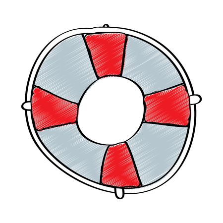 marine ring with rope life buoys element of floating navigable vector illustration