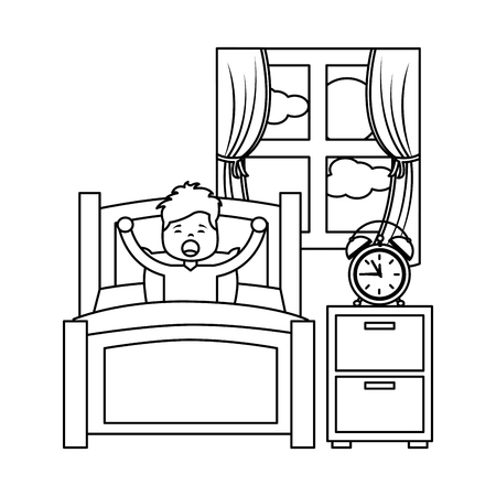 Boy wake up stretching in wooden bed  illustration