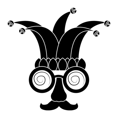 Funny mask silly glasses mustache and jester hat fools celebration vector illustration  イラスト・ベクター素材