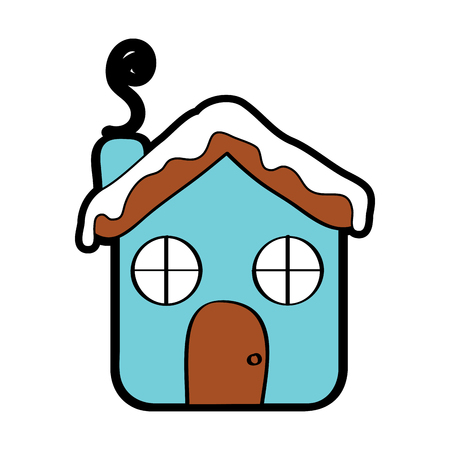 Haus Ingwer Brot Lebensmittel Weihnachten Winter Vektor-Illustration Standard-Bild - 96070223