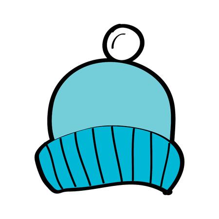ポンポンアクセサリーベクターイラストと冬のニット帽子  イラスト・ベクター素材