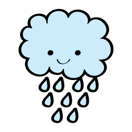 cute cartoon happy cloud rain drops vector illustration Фото со стока - 96070237