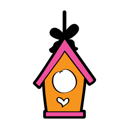 wooden bird house hanging of a rope vector illustration Çizim