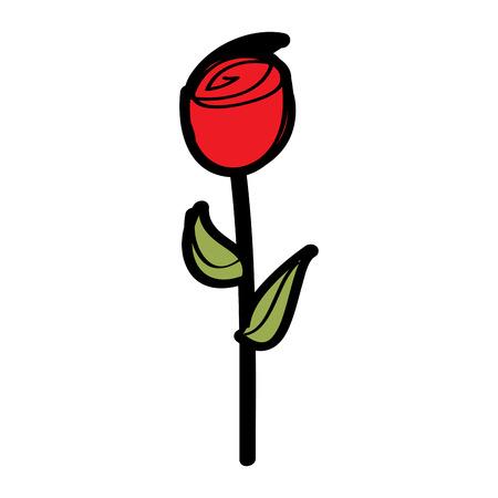 red rose flower natural botanical stem leaves icon vector illustration Illustration