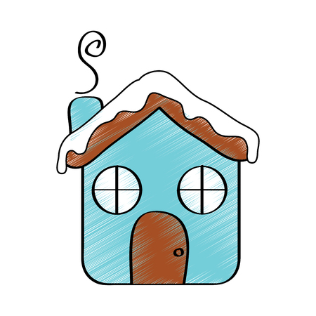winter house gingerbread decoration food season vector illustration