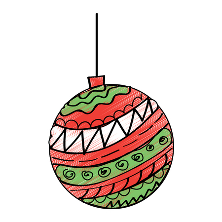 red and green christmas ball ornament vector illustration