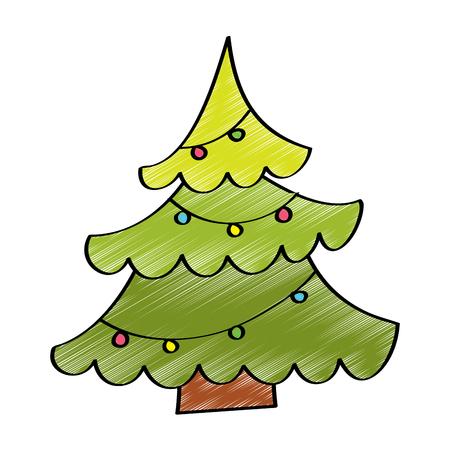 decorative christmas tree pine balls ornament vector illustration