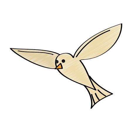 비행 갈매기 조류 검은 실루엣 흰색 배경에 고립. 일러스트