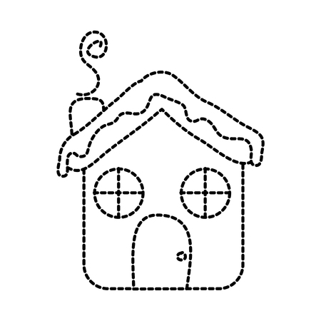 House ginger bread food christmas winter vector illustration sticker design