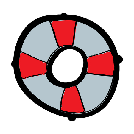 Life buoy with rope assistance or help symbol vector illustration Çizim
