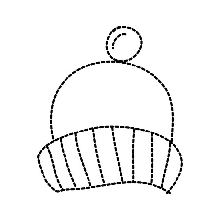 Winter knitted hat with pompom accessory vector illustration sticker design