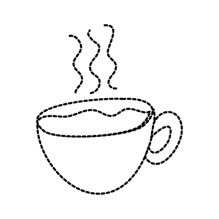 Hot coffee cup fresh beverage vector illustration sticker design