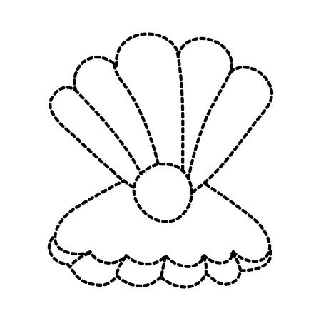 真珠海洋生物ベクトルイラストのデザインとオープン貝殻