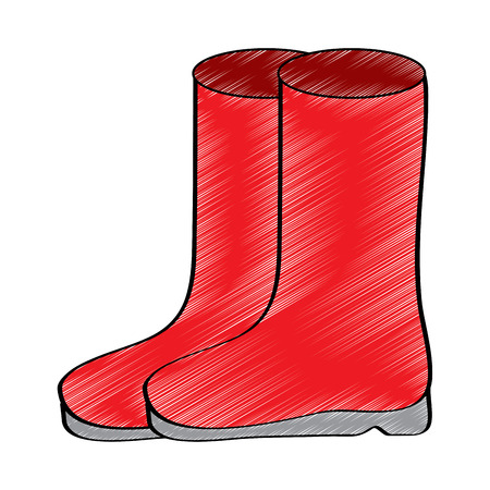 pair rubber boots clothes winter season fashion vector illustration drawing design color