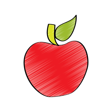 red fruit tasty apple delicious food vector illustration drawing design color