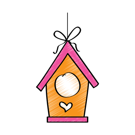 wooden bird house hanging of a rope vector illustration drawing design color Ilustracja