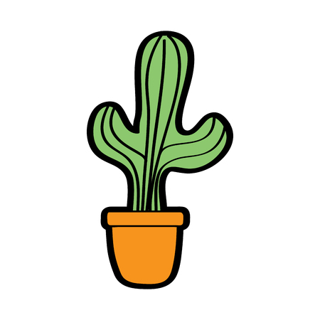 Potted cactus vector illustration