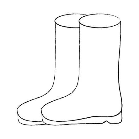 pair rubber boots clothes winter season fashion vector illustration sketch design
