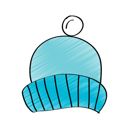 Winter knitted hat with pompon accessory vector illustration drawing design color.