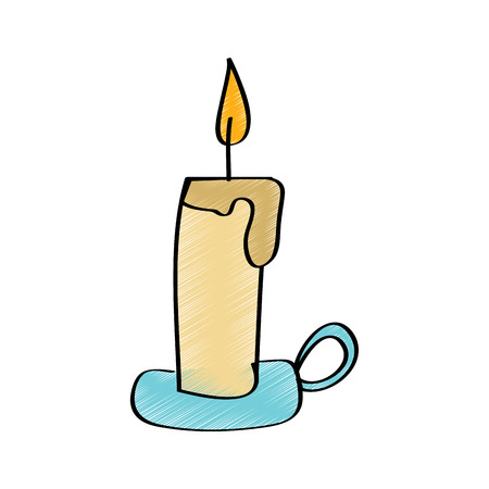 Candle with chandelier burning light vector illustration drawing design color.