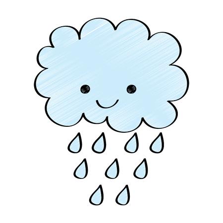 Cute cartoon happy cloud rain drops vector illustration drawing design color