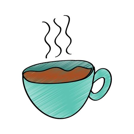 hot coffee cup fresh beverage vector illustration drawing design color Illustration