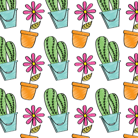 装飾的な鉢植え花とサボテン植物の壁紙図  イラスト・ベクター素材