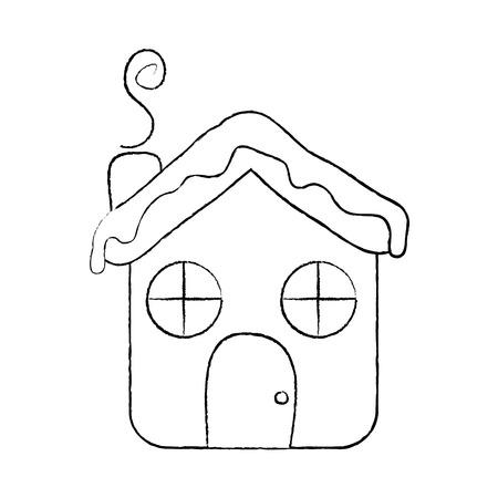 house ginger bread food christmas winter vector illustration sketch design Standard-Bild - 96072241