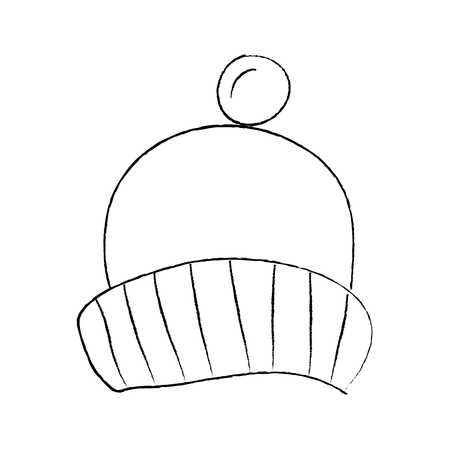 winter knitted hat with pompon accessory vector illustration sketch design