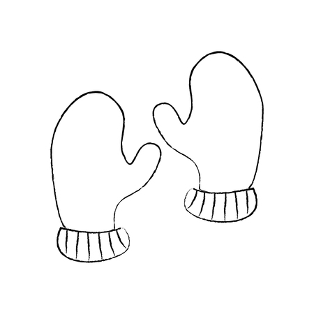 pair winter gloves clothes warm image vector illustration sketch design