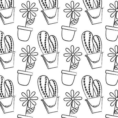 装飾的な鉢植えの花とサボテン植物の壁紙のイラスト。