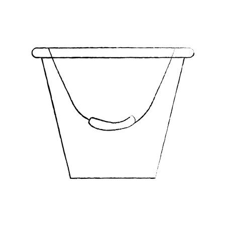 Bucket container metal tool equipment vector illustration sketch design.