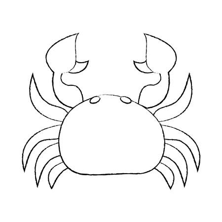 Sea wild life crab marine animal image vector illustration sketch design.