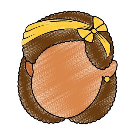 Cute and little girl head vector illustration design.