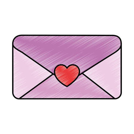 Envelope with heart seal vector illustration design