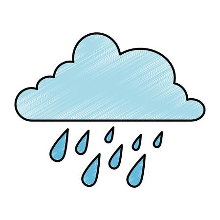 Cloud weather with rain drops vector illustration design