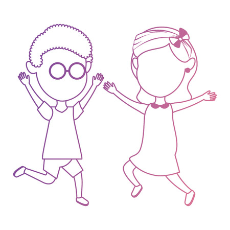 cute and little kids celebrating vector illustration design