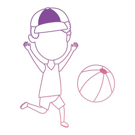 Niño jugando con diseño de ilustración de vector de globo de playa Foto de archivo - 96117914