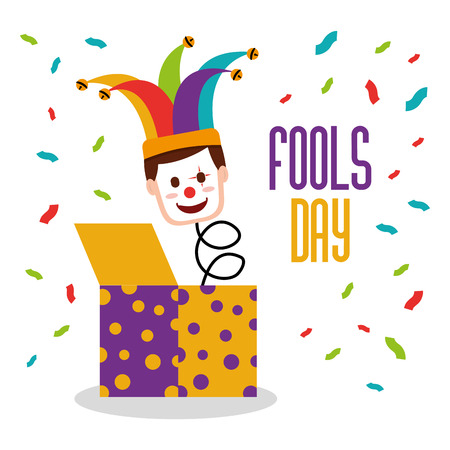 April fools day jack in the box in a clown mask. jester hat with confetti vector illustration.