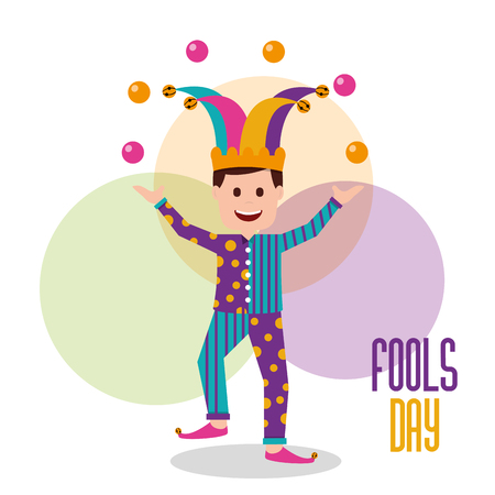 Fools day clown man making balls trick vector illustration. Ilustracja