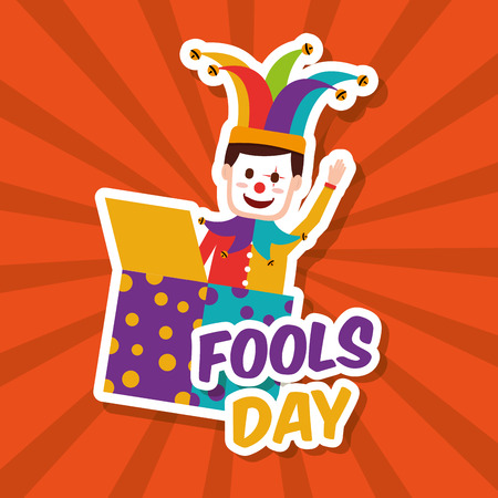 Fools day happy clown in jack box vector illustration