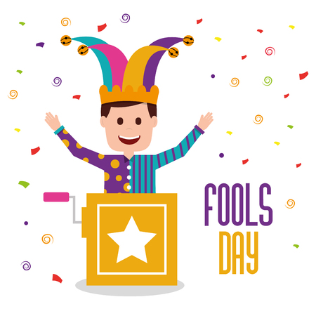 Fools day joker in the box vector illustration Illustration