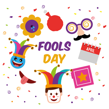 Fools day mask box flower cushion clown face vector illustration.