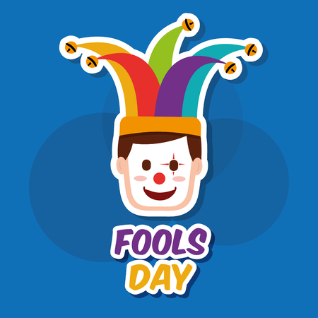 A face of a clown in a mask and jester hat vector illustration Illustration