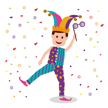 A happy man wearing clown clothes and holding silly glasses with confetti falling.