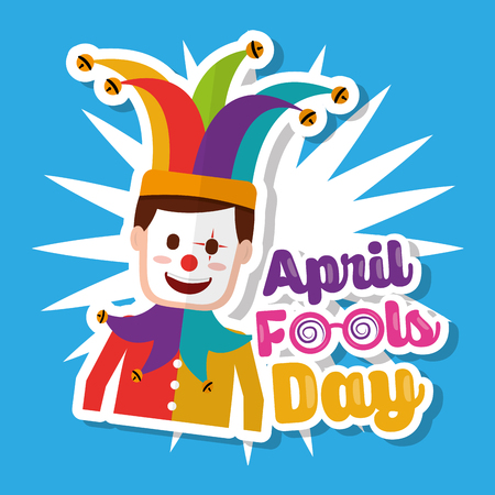 Joker with mask funny April fools day vector illustration. Stock Vector - 96285661
