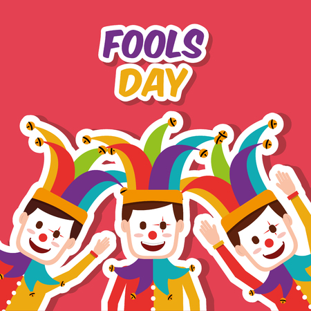 Fools day colored clowns with jester hat celebration vector illustration. Illustration